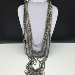 Chico's Silver Long Beaded Chain Necklace